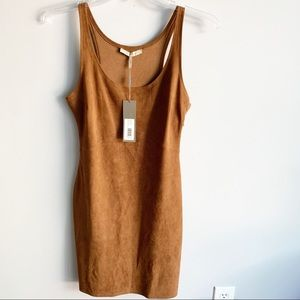 Halston Heritage Faux Suede Dress In Rust Brown